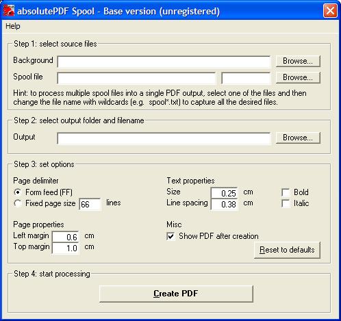 absolutePDFSpool Base 1.1