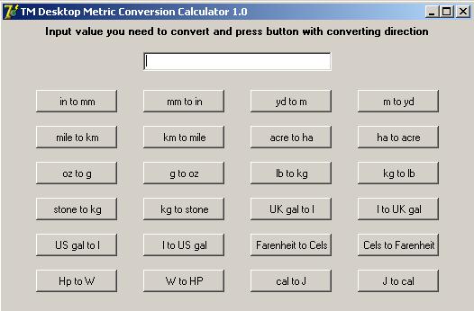 TM Desktop Metric Conversion Calculator