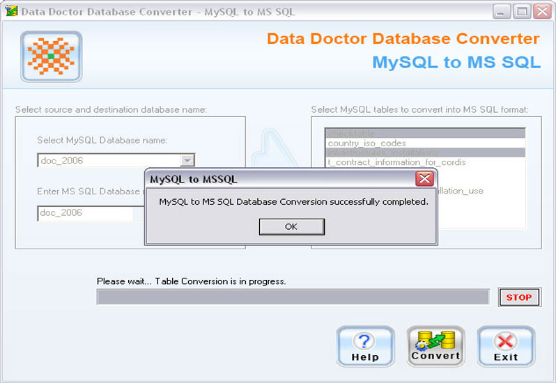 MySQL to MSSQL Database Converter