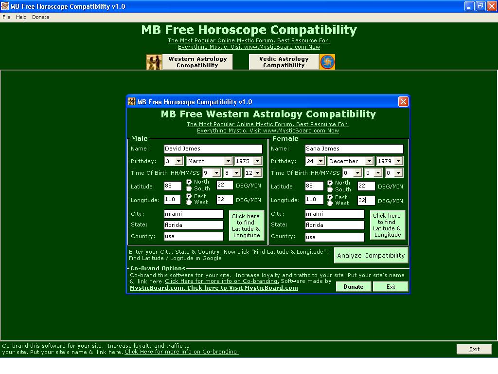 free match making horoscope software