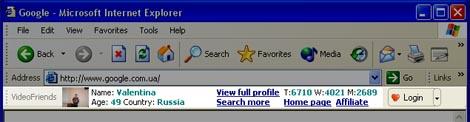 Online Dating Toolbar VideoFriends.net