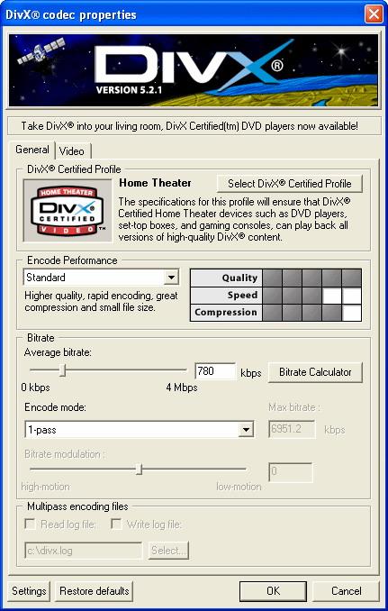 DivX Player (with DivX Codec) for 2K/XP