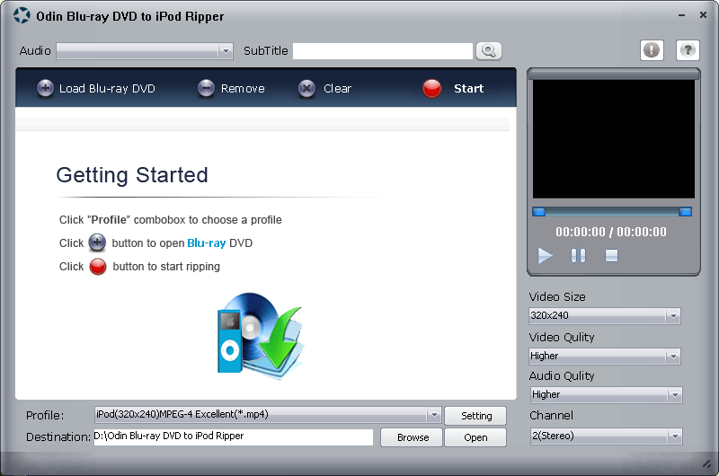 Odin Bluray DVD to iPod Ripper