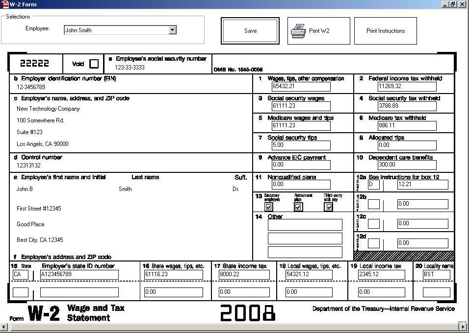 2017 Form W2  IRS tax forms