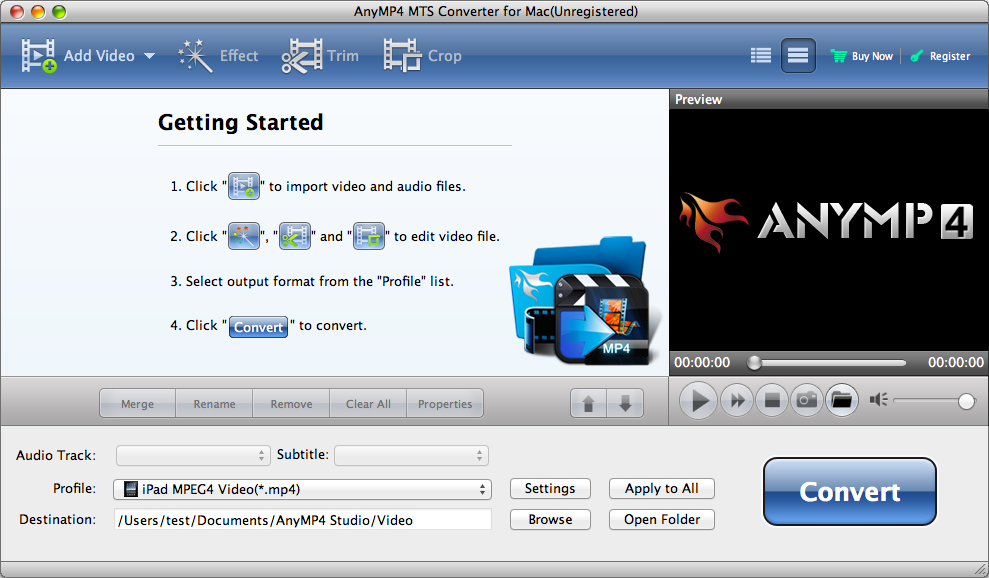AnyMP4 MTS Converter for Mac